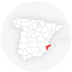 Map outline showing Alicante Province