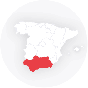 Map outline showing Andalucia