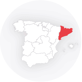 Map outline showing Catalonia