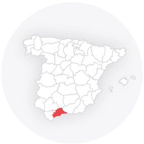 Map outline of  Malaga-provinsen