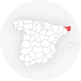 Map outline of  Girona-provinsen