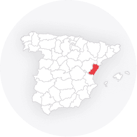 Map outline of  Castellon-provinsen