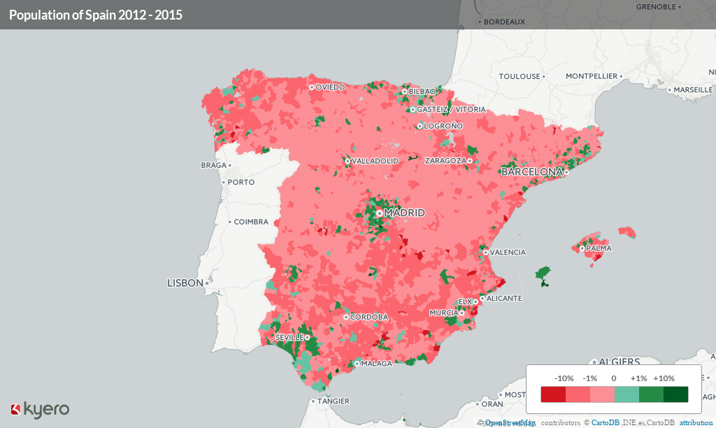 Interactive map of Spain's population